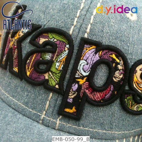 Flat embroidery with 3D emb. outline - EMB-050-99