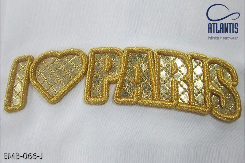 Gold fabric applique + metal Thread - EMB-066-J